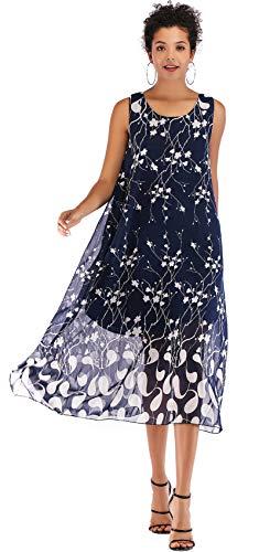 rmelloser Geblümt Plissee Plissiertes Midi Midikleid Chiffon Hängerkleid Trapez Mutterschaft Kleid Blau XL ()
