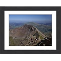 Framed 16x12 Print of Walkers approaching the summit of Mount Snowdon from the ridge (3661409)