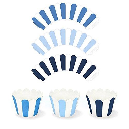 partydeco.pl 12 Cupcake Wrapper, Babyblau, blau, dunkelblau