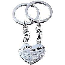 2pcs Mutter Tochter Split gebrochene Herz Schlüsselkette Ringe Set Doppel Anhänger Familie Geschenk für Frauen Mädchen