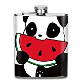 Panda Eat Watermelon Fashion Portable Stainless Steel Hip Flask Whiskey Bottle for Men and Women 7 Oz