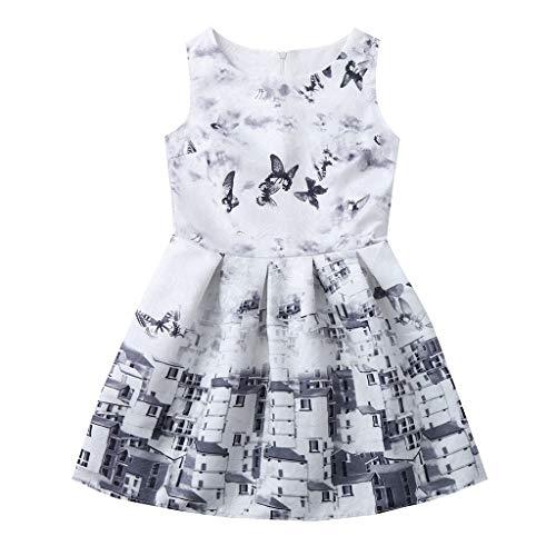erthome Robe de Fille d'enfants, vêtements de Princesse de Partie d'impression de Papillon sans Manches 5-12Ans (11-12 Ans, Blanc)