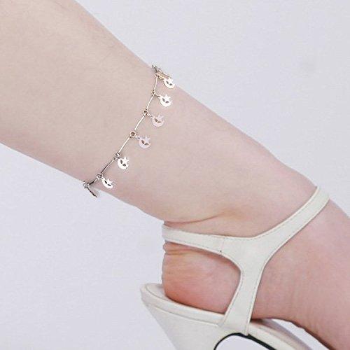 Ecloud Shop Metall Fußkette Fußkettchen Damen Mond Sternen Farbe Silber