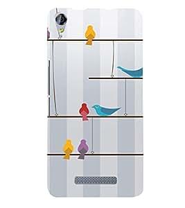 PrintVisa Colorful Birds Design 3D Hard Polycarbonate Designer Back Case Cover for Micromax Juice 3 Plus