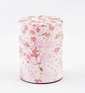 Boîte à thé, recouvert de papier de soie japonais, Motif de fleur de cerisier rose, 40 g