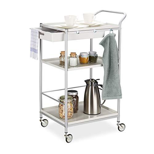 Relaxdays 10024553 Servierwagen Stahl, ausziehbare Schublade, 360° drehbare Rollen, Küchenwagen, HxBxT: 95x56x38 cm, weiß/grau