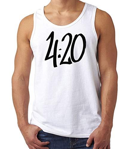Herren 420 Time Logo Weed Cannabis Muskelshirt Tank Top T-Shirt Weiß XL