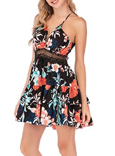 Flared Sleeve Velvet Kleid (CuteRose Women's Sexy Deep-V Neck Sleeveless Backless Print Swing Flared Dress Black 2XL)
