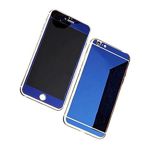 Bleu Verre Trempé Film Protection écran pour Apple iphone 6 plus& 6s plus 5.5Pouce - Guizen Premium Miroir Effet Couverture Complet Glass Screen Protector avant et arriere Inrayable 9H et Ultra Résistant Indice Dureté-Blue