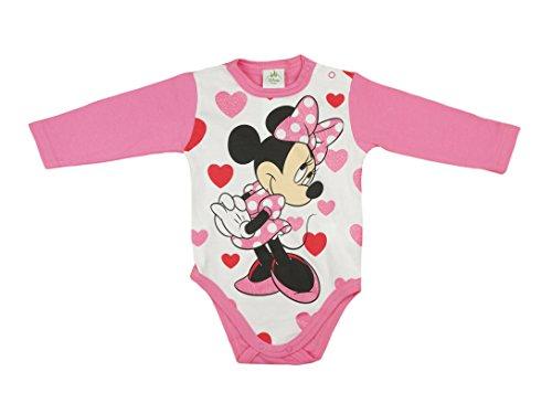 -Body aus Baumwolle, Spiel-Anzug mit Druck-Knöpfen, Baby-Schlafanzug lang-arm mit Minnie Mouse Motiv in rosa, pink oder grau, mit Herzen, GRÖSSE 56, 62, 68, 74 Farbe Pink, Größe 74 ()