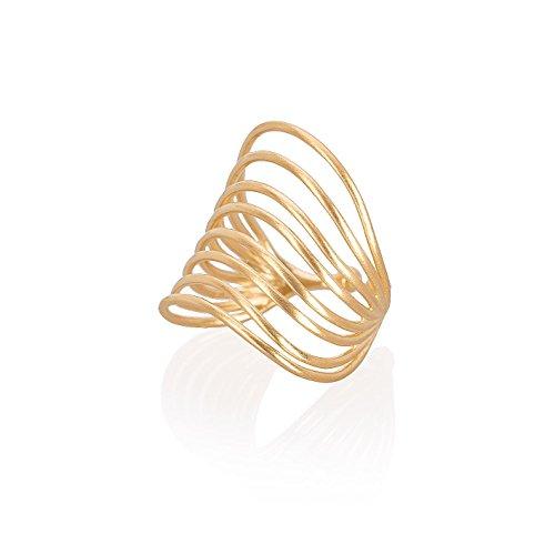 Pernille Corydon Ring Damen Breit Gold - Goldring Silhouette Verstellbar Offen 925er Silber vergoldet - Größen 51-53 - R570g-52