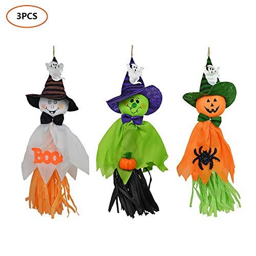Mallalah 3 Lustige Gespenster Halloween Deko Kürbis Geist Hexe Puppen hängende Geister Party Dekoration