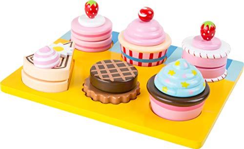 """small foot 10149 Schneide """"Cupcakes und Torten"""" aus Holz, mit Klettverschluss individuell kombinierbar, ab 3 Jahren"""
