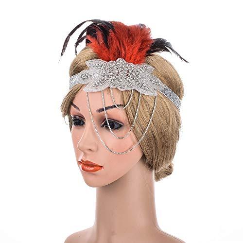 Guolipin Vintage Crystal Crown Queen Tiara Braut Haarschmuc Frauen Vintage Flapper Kopfschmuck Feder Perlen Kristall Stirnband Braut Für Party Prom Hochzeit Kostüm Zubehör (Farbe : - Crystal Queen Kostüm