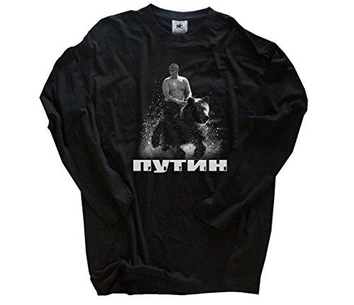 Shirtzshop Wladimir Putin auf Bär Russland Russia Russischer Bär Longsleeve-Shirt Schwarz M -