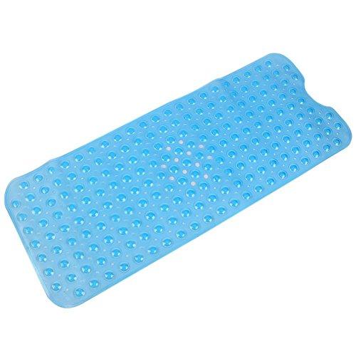 Badewannenmatten Extralange TPR Rutschfeste Badewanneneinlage Badematte mit Saugnäpfen Badewanne Dusche Kinder 100*40cm (Blue)