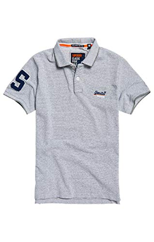 Superdry Classic S/s Pique Polo Blanc (Optic Grey Grit Feeder Zw3), X-Small Homm