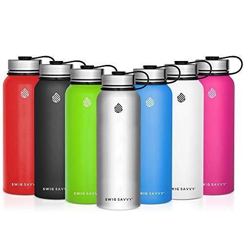 SWIG SAVVY Wasser Flaschen Edelstahl-Vakuum Isoliert Wasser Flasche + Edelstahl Leck & Sweat Proof Gap doppelwandig Thermoskanne für heiße oder kalte Getränke, weiß