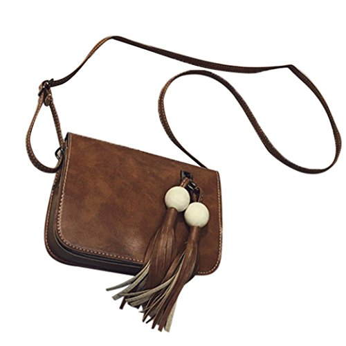 Koly_Pelle modo delle donne nappe borsa Croce corpo Shoulder Bag Messenger Coin (Marrone)