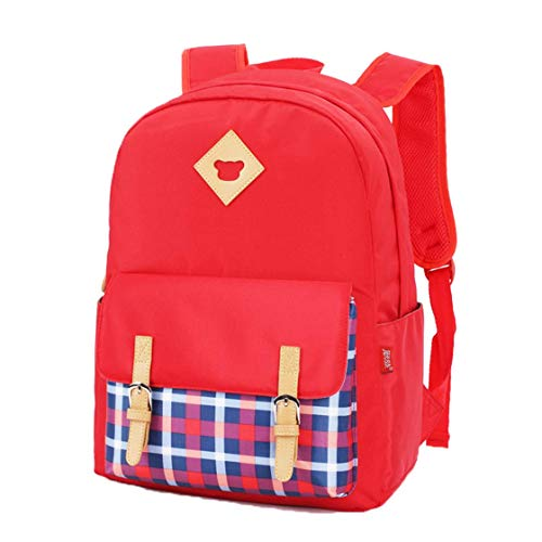 Mochila Bolsa, Escuela Chica Mochila Mochila de Nylon liviano Joven randoseru de Gran Capacidad Mochila Impermeable Mochila Escolar (Rojo) -Red
