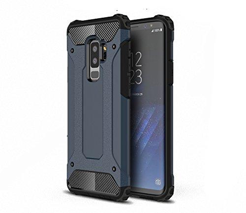 XIFAN Hülle Galaxy A6 plus 2018 Rugged Anti-Scratch PC Rückwand Schale + Shockproof TPU Stoßfänger, Doppelschichter Schutz Schutzhülle, navy Blau