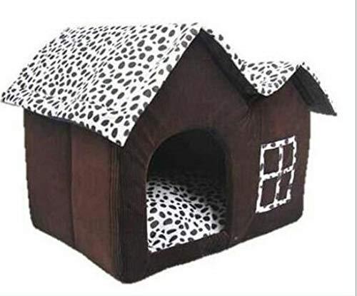 Marbeine Hundehaus/Katzenhaus/Hundehütte, Doppel-Dächer mit Fleckmuster, Weiß