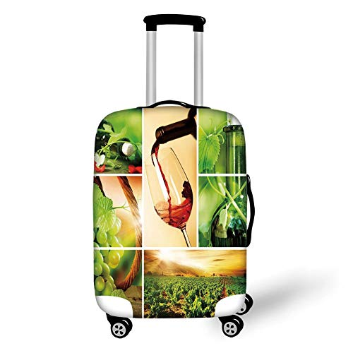 Travel Luggage Cover Suitcase Protector,Wine,Wine Tasting and Grapevine Collage Green Fresh Field Pouring Drink Delicious Decorative,Green Ruby Caramel,for Travels 19x27.5Inch - Ruby Grapevine