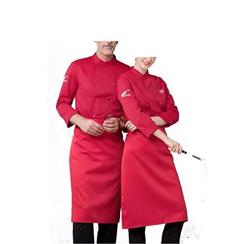 Juabc Unisex Küchenchef Uniform Langarm Mantel Und Schürze Restaurant Uniform Hemd Kleidung Bäckerei Unter Kochmantel Shouider 47,5 cm Fehlschlag 114 cm Taille 110 cm Länge 75 cm (A)