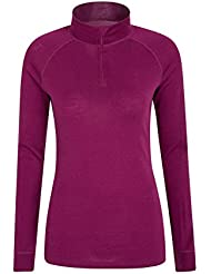 Mountain Warehouse Merino Womens Thermal Baselayer Top - Long Sleeves Ladies T-Shirt, Zip Neck Top, Lightweight, Easy Care Tee - For Winter & Spring Travelling