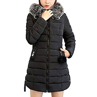 BBestseller Sweatshirt Chaqueta de Plumón para Mujer con Piel Capucha Slim Fit Abrigo de Algodon de Invierno de Manga Larga Parka Pullover Outwear