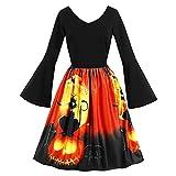 Lover-Beauty Halloween Damen Kleider Retro A-Linie Ohne Arm Kürbis Swing Abendmode Kleider für Party Cocktail und Kostüm