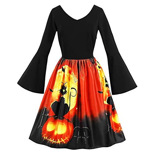 Damen Kleider Langarm midi sexy Blumen festlich elegant Sommer Minikleid Halloween Retro A-Linie...