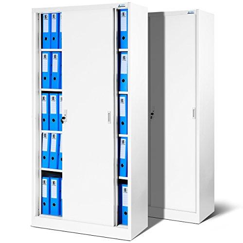 Jan Nowak by Domator24 2er Set Büroschrank SD001 Aktenschrank mit Schiebetüren Büroschrank Metallschrank 4 Fächer 185 cm x 90 cm x 40 cm (H x B x T) (weiß/weiß)
