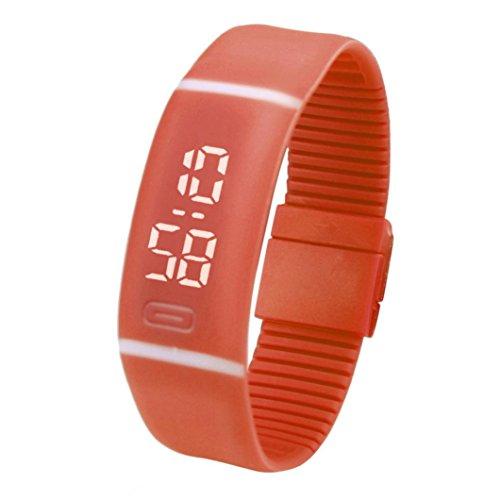 FEITONG Einfach Unisex Gummi LED Uhr Datum Sport Armband Digital Armbanduhr (Orange)