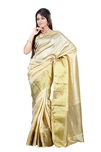 Mimosa Tassar Silk Saree (2060-Tuss-Hwhite_Halfwhite)  available at amazon for Rs.1099