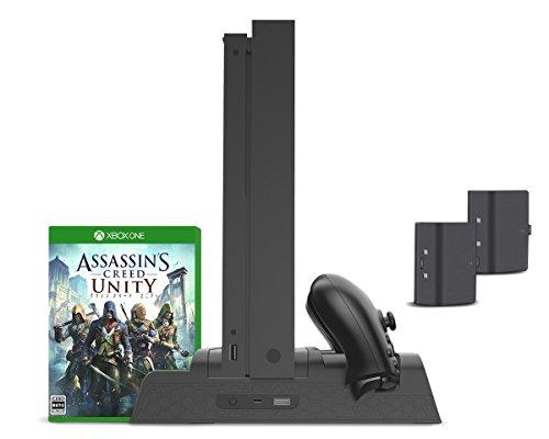 Vertikaler Stand, Controller-Ladegerät, Kühlventilator für Xbox One, One S, One X und Elite - ElecGear Dual Charging Docking Station, 2 x wiederaufladbarer Akku, USB-Hub, Spiele Storage Holder Rack - Für Die One Xbox Netzkabel