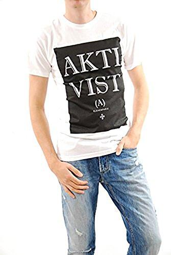 Attivista bianco T-shirt Eleven Paris Uomo una maniche corte Taglia M