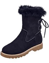 Jitong Femmes Fausse Fourrure Bottes Chaudes Doublure Mi-Mollet Boots en  Daim Petit Talon Confortable cb3eb5284c8f