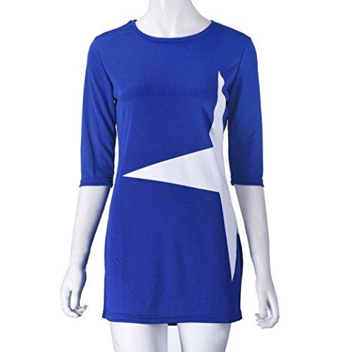 Robe Femme, Koly 1PC Femmes Casual Dress LâChe éToile Demi Imprimé à Manches Courtes Mini Robe Sport Vetement Bleu