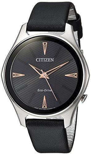Citizen pour femme Eco-Drive 'montre à quartz Acier inoxydable et cuir, couleur: noir (modèle: Em0591–01E)