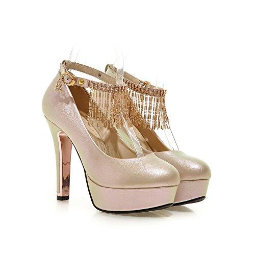AgooLar Damen Eingelegt Weiches Material Hoher Absatz Schnalle Rund Zehe Pumps Schuhe Golden
