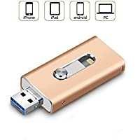 32 GB Unidad Flash USB para iPhone iPad Android PC - Memoria Flash USB Pen Drive (3 en 1), Oro