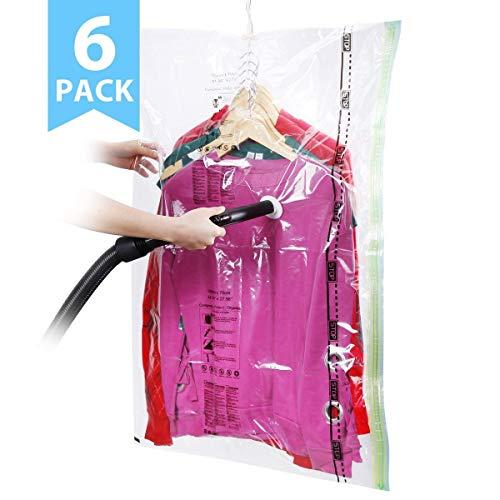 Sacchetti sottovuoto per vestiti, isenpenk 6 pz sacchi di conservazione con gancio per armadi appendiabiti custodie di indumenti riutilizzabili traspiranti con pompa a manuale salvaspazio (105 * 70cm)