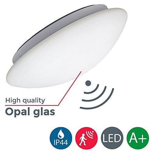 LED Deckenleuchte mit Radar-Bewegungssensor, Innen &- Außen, Bewegungsmelder, Außenbeleuchtung, Opalglas, IP44