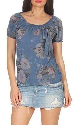 Malito Damen Blusenshirt mit Blumen Print | Oberteil mit Schleife | Hemdbluse - Tunika - modern 3443 (Jeansblau)