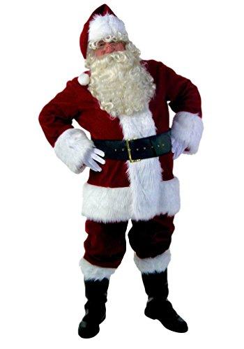 ZKOO Adulte Déguisement de Pere Noel en 10 pièces Déguisement Complet de Père Noël Costume Cosplay Vetement Habit Rouge pour Hauteur 165-175 cm