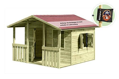 Großes Kinderspielhaus Lisa aus Holz mit Veranda von Gartenpirat®