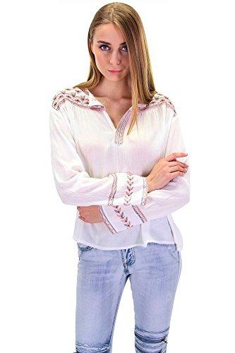 Tunika Leinen Optik mit Blumen Muster Bluse in drei Farben Ethno Weiß