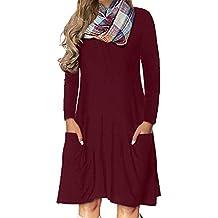 Rawdah- Big prometion,Vestiti Donna Elegante Cerimonia Vestiti da Donna Casual A Tulipano Casuale Lungo Manica O-Collo Solido Mini Vestito con Tasca