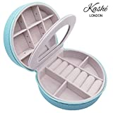 Kashé Jewellery Box - HQ Small Travel Jewellery Organiser Celano with Built-in Mirror - Accessories Storage Case for Rings, Earrings, Necklace, Bracelets - A Gift for Girl and Lady (Aqua Green)
